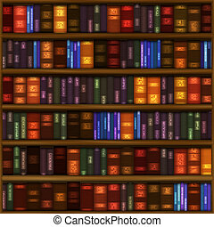 Book Shelf Pattern - A seamless book shelf pattern with rows...