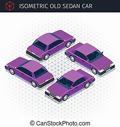 retro sedan car - Isometric retro sedan car. 3d vector...