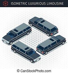 black limousine car - Isometric black limousine car. 3d...
