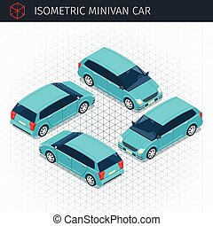 green minivan car - Isometric green minivan car. 3d vector...