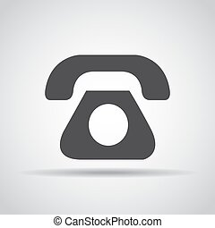 Phone icon with shadow on a gray background. Vector...