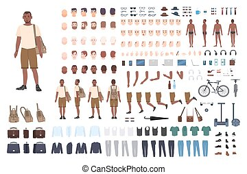 Young guy character constructor. Adult male creation set....