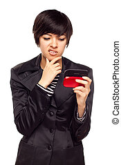 Frustrated Young Mixed Race Woman Looking At Cell Phone