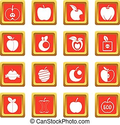 Apple icons set red - Apple icons set in red color isolated...