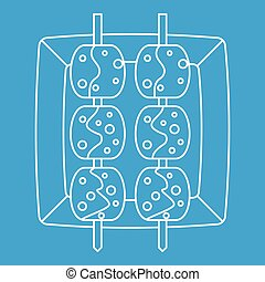 Meat shashlik icon, outline style - Meat shashlik icon blue...