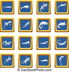 Lizard icons set blue - Lizard icons set in blue color...