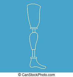 Prosthesis leg icon, outline style - Prosthesis leg icon...