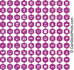 100 education technology icons hexagon violet - 100...