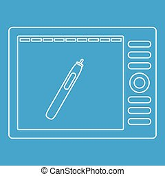 Graphics tablet icon, outline style - Graphics tablet icon...
