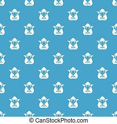 Head of troll pattern seamless blue - Head of troll pattern...