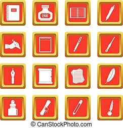 Writing icons set red