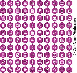 100 electricity icons hexagon violet