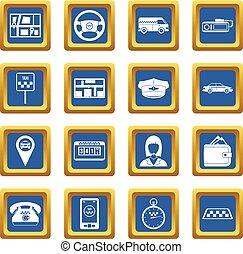 Taxi icons set blue