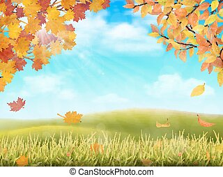 Autumn rural landscape with tree branches - Rural hilly...