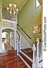 Hallway ans staircase - Hallway with staircase in a large...