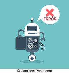 Modern Robot Error Message Artificial Intelligence...