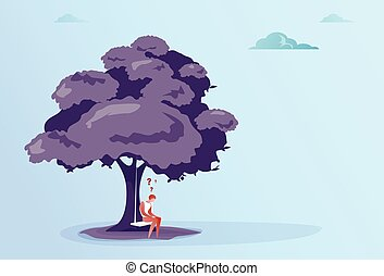 Business Man With Question Mark Sit Pondering Under Tree...
