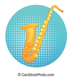 Saxophone Icon Wind Music Instrument Concept Flat Vector...