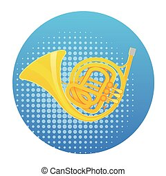Horn Icon Wind Music Instrument Concept Flat Vector...