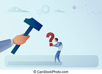 Business Man Hand Hitting Question Mark With Hammer Flat...