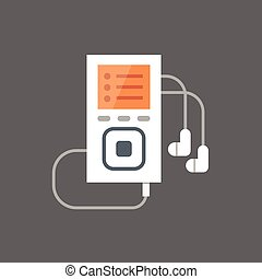 Music Player With Earphones Icon Audio Listening Gadget Flat...