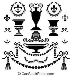 clássicas, estilo, desenho, elementos