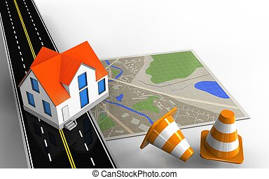 3d asphalt road