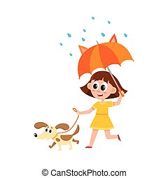 vector girl walks with dog, umbrella in rain