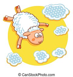 Cute cartoon sheep vector illustration.