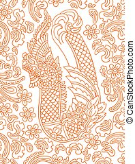 Floral vector pattern with Asian dragon.