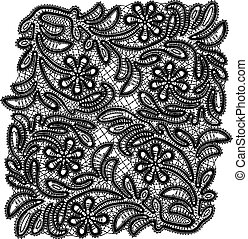 Floral vector ornament with lace.