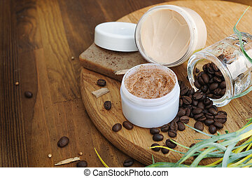 Bio cream, soap and scrub, natural cosmetics
