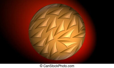 Gold sphere with 3d patterns rotating in red blurry light on...