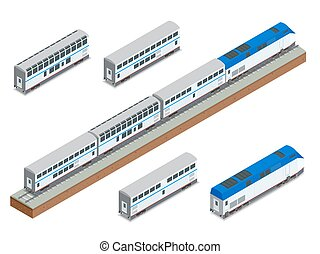 Isometric vector two-story long-distance passenger train...