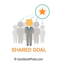 Shared Goal Businesspeople Team Cooperation Icon Business Banner