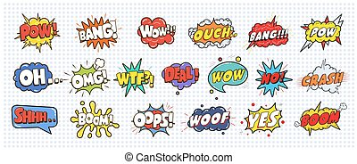 Comic sound speech effect bubbles set isolated on white...