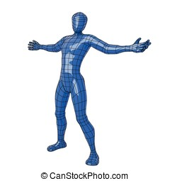 Wireframe human figure open arms - Futuristic wireframe...