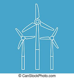 Windmill icon, outline style - Windmill icon blue outline...