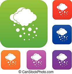 Cloud with hail set collection - Cloud with hail set icon in...