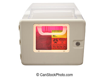 Biohazard sharps disposal box - Biohazard sharps and needle...