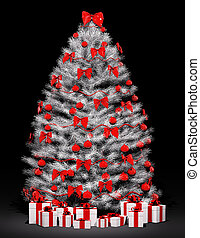 Christmas tree over the black 3d - Christmas fir tree...
