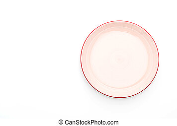 red plate on white