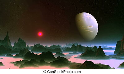Alien Planet and Big Moon - On a dark starry sky a large...