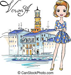 Cute fashion girl in in Verona, Italy - Vector Cute...
