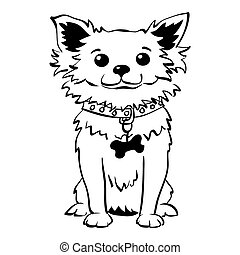 Vector sketch funny chihuahua dog sitting