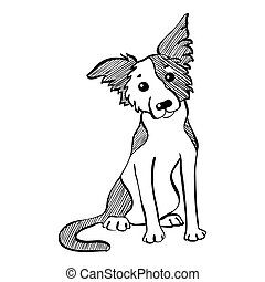 Vector sketch funny Border Collie dog sitting - Sketch Funny...