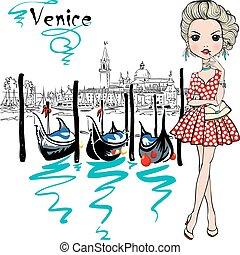 Cute fashion girl in Venice, Italia.