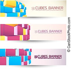 Rows Of Cubes Banners Set