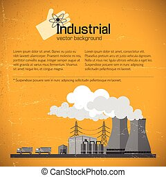 Yellow Background With Factory - Factory with industrial...
