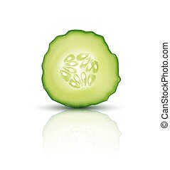 Vector slice juicy cucumber isolated on white background. Realistic 3d illustration. Element for modern design.